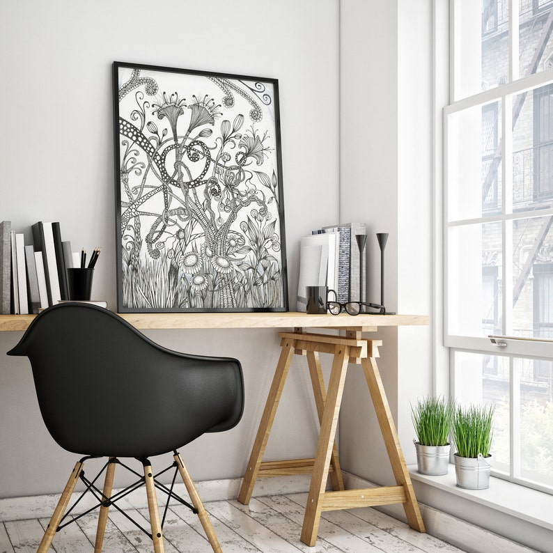 Black And White Art Prints Wall Art Psychedelic Art Florals image 0