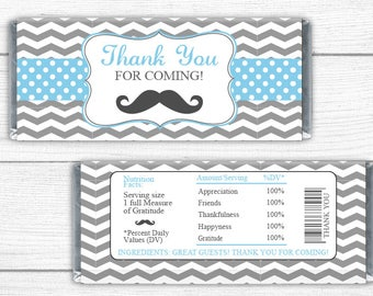 40 Count Baby Shower or Birthday Party Small Favors Mini Candy Bar Wrapper Stickers Dashing Little Man Mustache Party