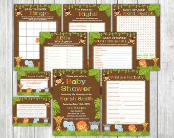 Neutral Printable Jungle Safari Boy Baby Shower Set, Girl Safari Baby Shower Package, Neutral Jungle Animals Baby Shower Invitation, Raffle