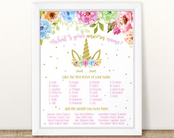 picture relating to Free Unicorn Name Printable titled Printable Unicorn Popularity Birthday Match Indicator Rainbows and Etsy