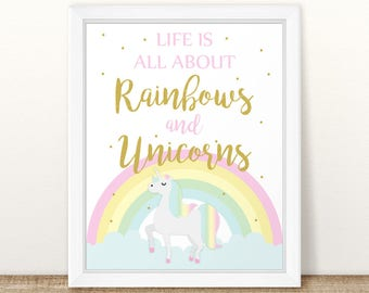 Printable Unicorn Birthday Sign, Rainbows and Unicorns Birthday Sign, Unicorn Birthday Decor, Gold unicorn Birthday Decor INSTANT DOWNLOAD