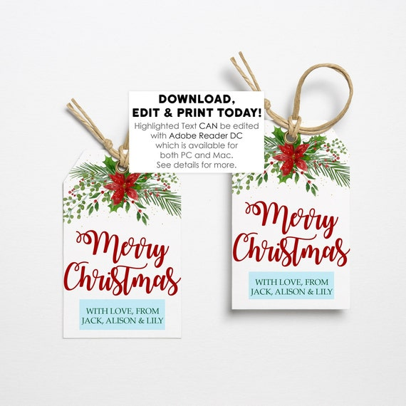 Editable Christmas Labels.Editable Christmas Printable Gift Tags Christmas Labels Christmas Gift Labels Christmas Gift Tags Christmas Favor Tags Instant Download