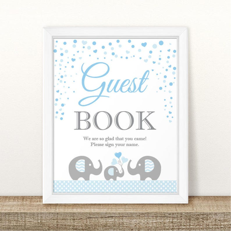 Printable Elephant Baby Shower Guest Book Sign Baby Shower Etsy