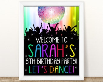 Printable Personalized Let's Dance Welcome Sign, Disco Ball Printable Birthday Welcome Sign, Birthday Let's Dance Disco Welcome Sign