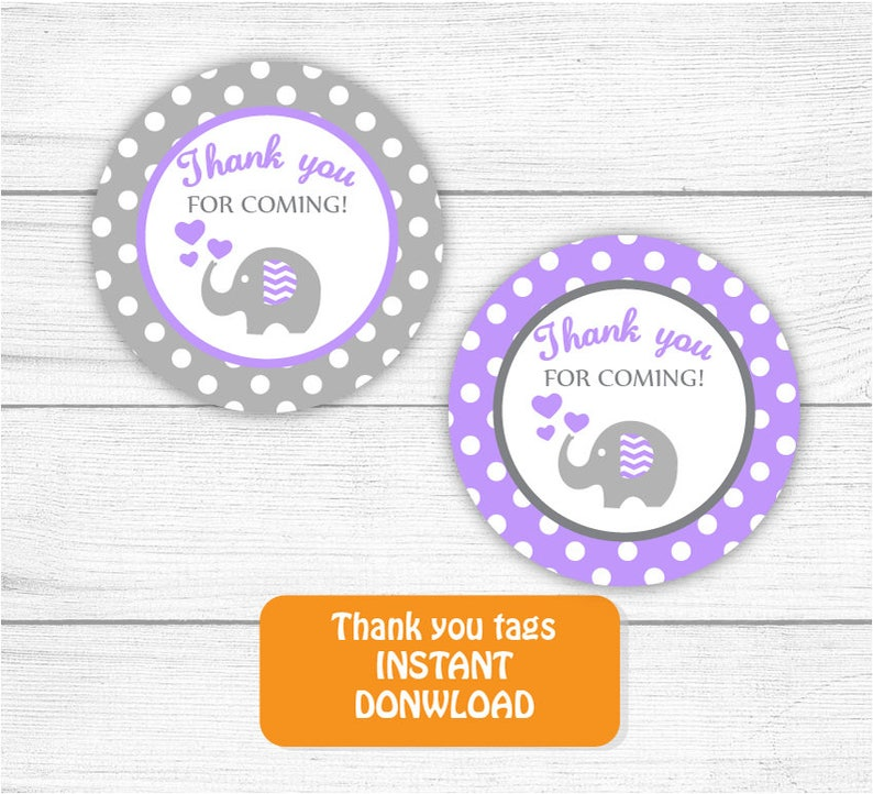 Printable Thank you Tags Purple Grey Baby Shower Elephant Thank you Tags Elephant Baby Shower Thank you tags INSTANT DOWNLOAD