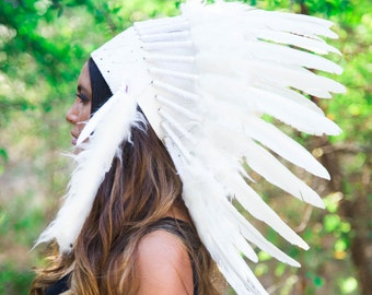 La Original - pluma Real todos blanco jefe indio tocado réplica 65cm, mano de traje de nativo americano hecho guerra tapa sombrero