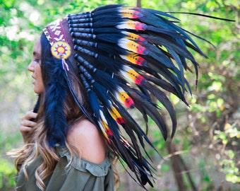 El Original - pluma Real Rasta y negro jefe indio Headdress réplica 75cm, nativa americana del traje a mano sombrero de Capo de la guerra