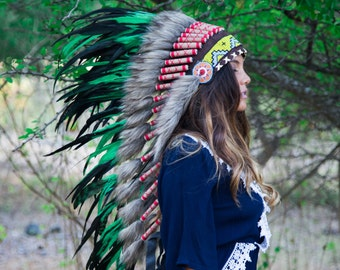 The Original - Real Feather Green Chief Indian Headdress Replica 100cm, Native American Style Costume Hand Made War Bonnet Hat