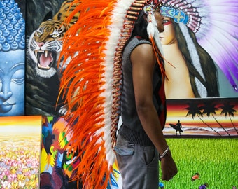 The Original - Real Feather All Orange Chief Indian Headdress Replica 135cm, Native American Style Costume Hand Made War Bonnet Hat
