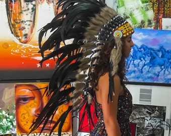 The Original - Real Feather Black Chief Indian Headdress Replica 100cm, Native American Style Costume Hand Made War Bonnet Hat