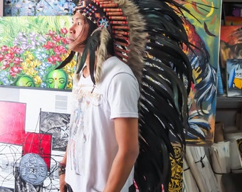 The Original - Real Feather Black Chief Indian Headdress Replica 135cm, Native American Style Costume Hand Made War Bonnet Hat