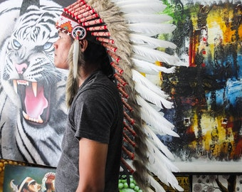 The Original - Real Feather White Chief Indian Headdress Replica 90cm, Native American Style Costume Hand Made War Bonnet Hat