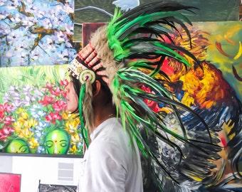 El Original - pluma Real verde jefe indio tocado réplica 75cm, sombrero del estilo americano nativo traje mano hecho guerra Bonnet