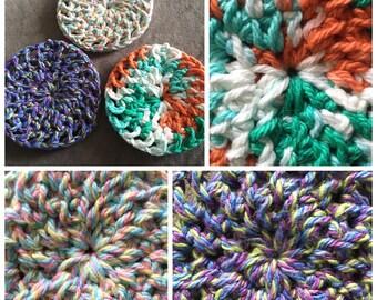Cotton pads, cotton rounds, crochet cotton pads, crochet dish cloth, crochet face scrubbie, washable pad, reusable pad, cotton, zero waste