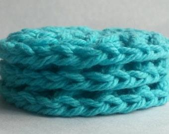 Teal cotton pads, blue cotton rounds, crochet cotton pads, crochet dish cloth, crochet face scrubbie, washable pad, reusable pad, cotton