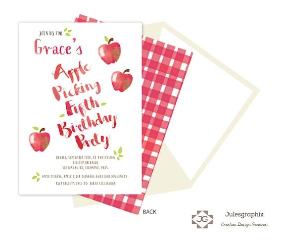 Apple Picking Birthday Invitation Printable Fall Party