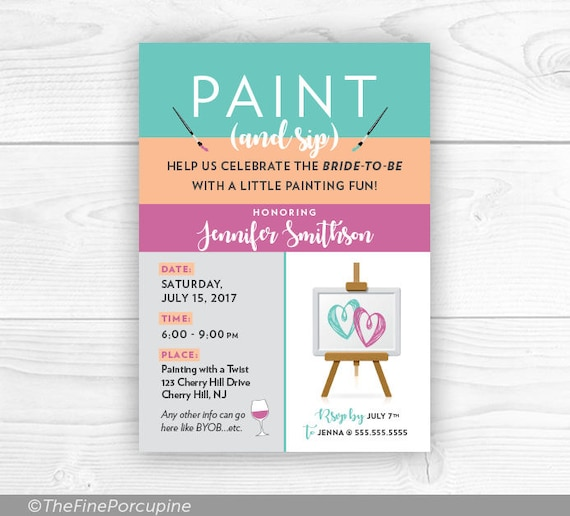 Paint And Sip Party Invites Wine And Painting Party Canvas Etsy