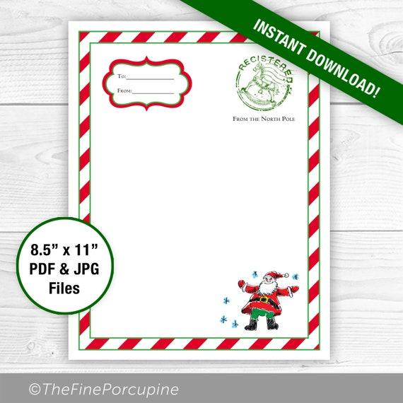 Printable Letter From Santa Santa Template Santa Stationary Etsy