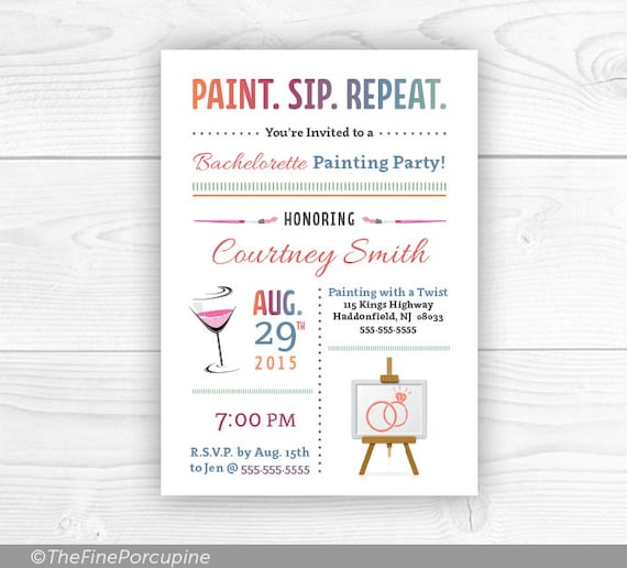 Paint Party Paint And Sip Wine And Painting Party Invites Etsy