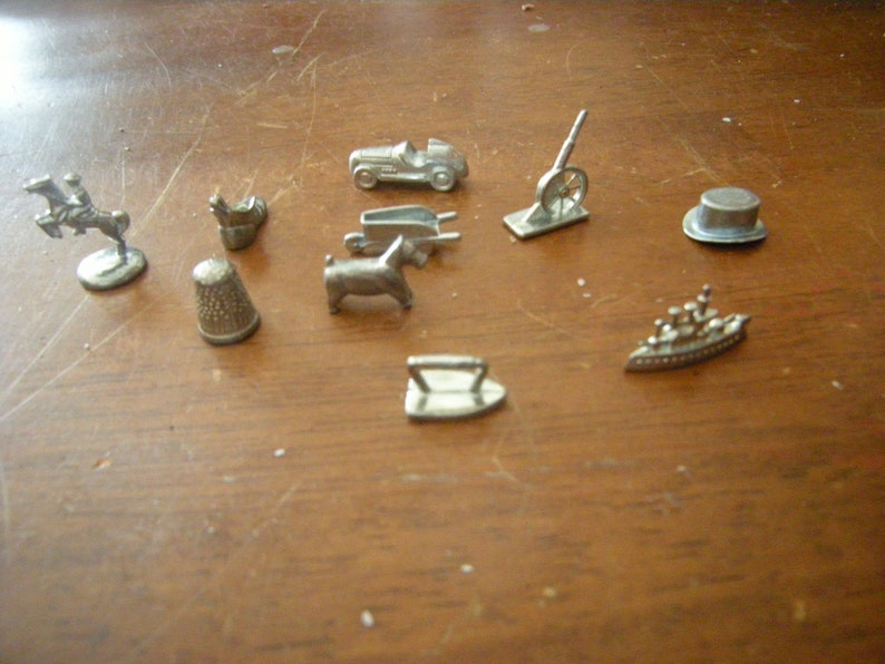10 monopoly tokens-classic-replacement-jewelry-art-crafts-assemblage-supplies-