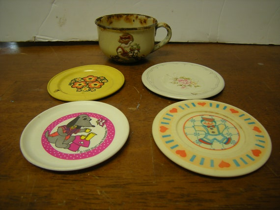 Vtge Doll Dishes Metal Plastic Embossed Cup Made In Germany 2