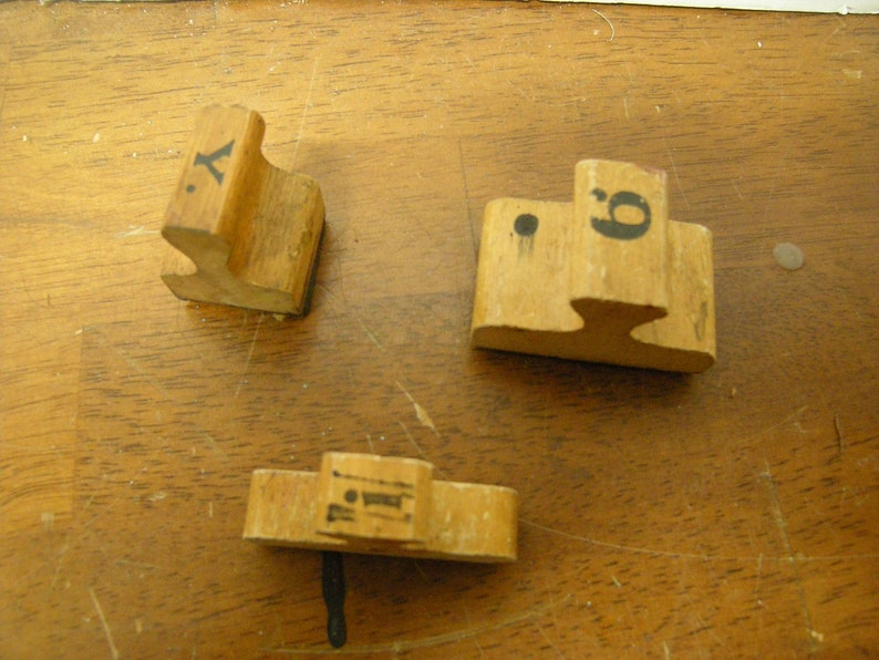 3 vtge wooden stamps-office-school-art-crafts-art projects-supplies-