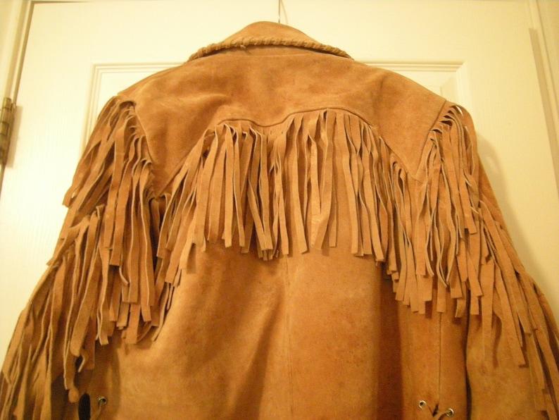vtge western  fringed men jacket-leather-fringes everywhere-heavy coat-lined-no pockets-mens clothing-sport coat-