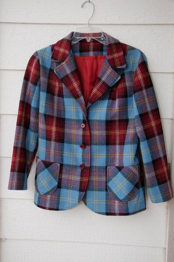 Plaid womens jacket coat size medium Bobbie Brooks