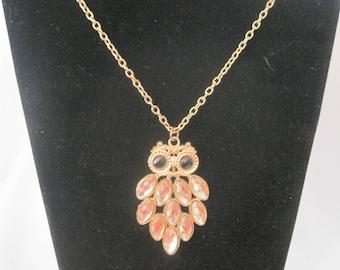 "26"" Vintage Gold Tone Owl Necklace"