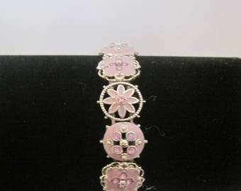 silver tone and pink stretch bracelet