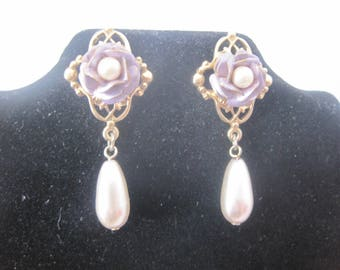 Gold Tone Purple Rose and Faux Pearl Earrings
