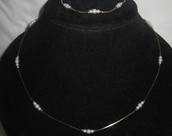 """18"""" Gold Tone Faux Pearl Necklace and Bracelet"""