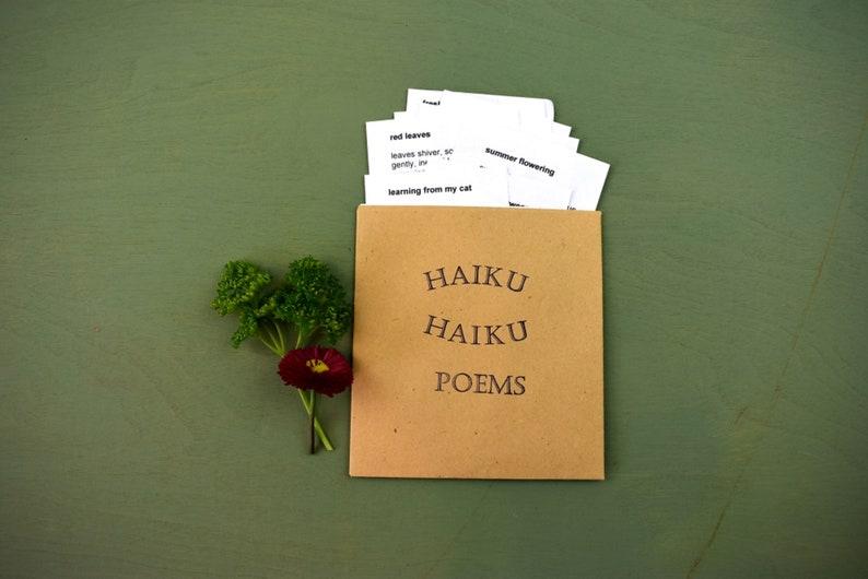 Haiku  poems handmade poetry packet small poetry gift. image 0