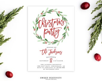 Christmas party invitations etsy christmas party invitation christmas invitation holly invitation holiday invitation printable christmas watercolor invitation wreath stopboris Gallery