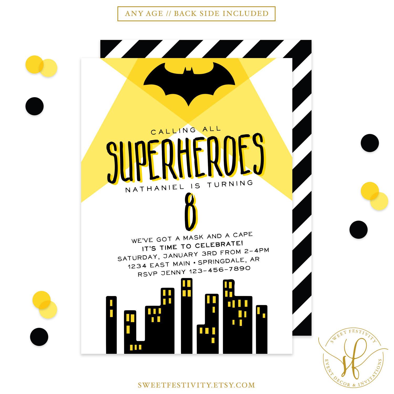 Batman Invitation Superhero Invitation Superhero Party Bat | Etsy