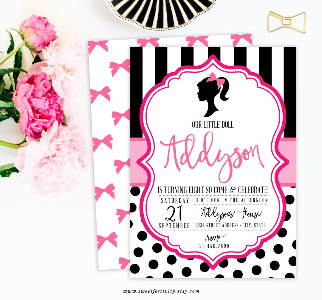Doll Invitation Doll Fashion Show Party Silhouette Glam | Etsy