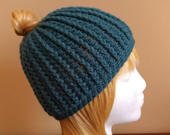 Teal Messy Bun/Ponytail Beanie Hat -  Free Shipping!