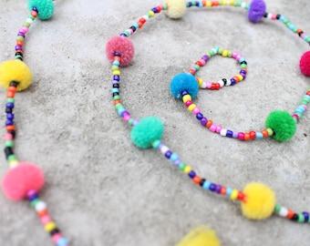 Colorful Big Pompom Hanging,  Pompom and Tassel decoration, Tassel Mobile Hanging, Pom poms Banner, Beads wall hanging, Tassel Garland, Bead