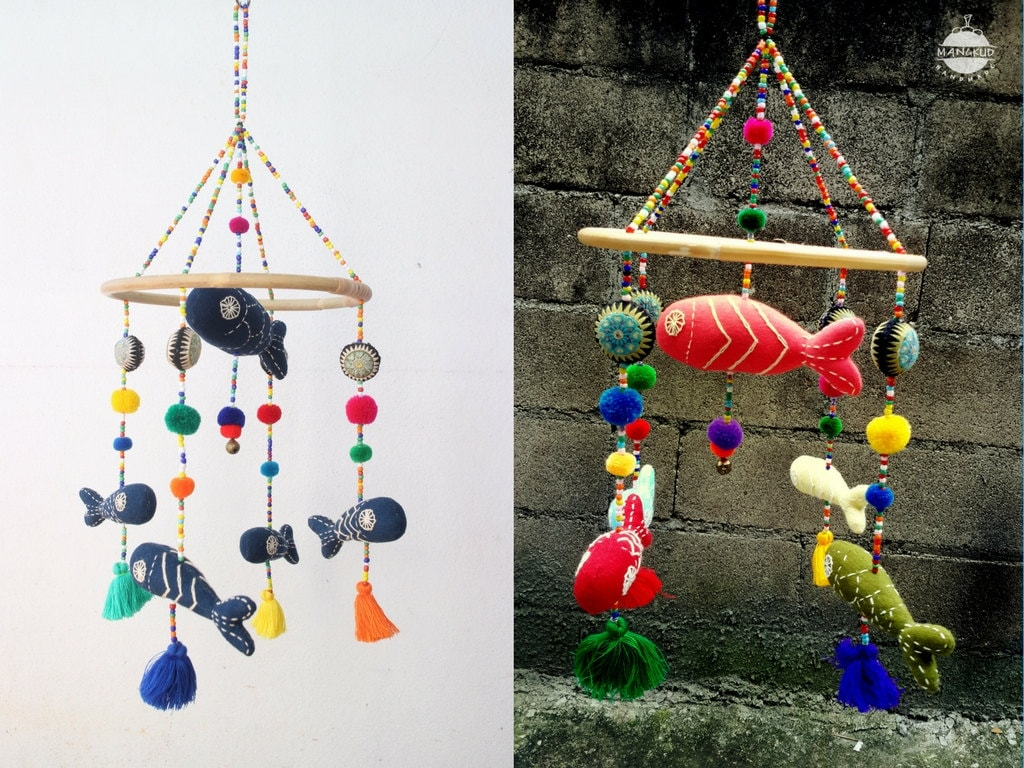 Ocean Fish Hanging Combo (2 Sets): Colorful Aquarium Fish Mobile Hanging W  Embroidery, Tassels, Pompoms, Beads, Rattan, Baby Crib, Jingles