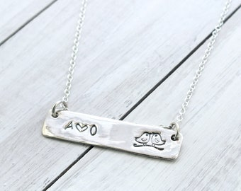 Custom Silver Bar Necklace, Custom Initial Necklace, Love Bird Necklace, Custom Hand Stamped Necklace, Personalised Bar Necklace