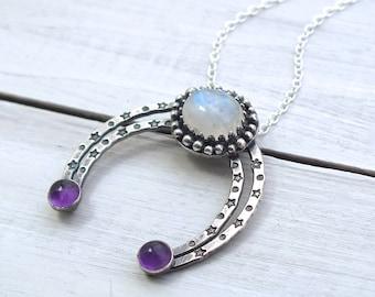 Sterling Silver Crescent Moon Gemstone Necklace, Boho Silver Moon Necklace, Moonstone Necklace, Half Moon Pendant