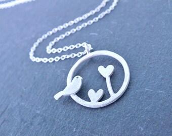 Silver Bird Necklace, Robin Necklace, Bird Pendant, Silver Circle Necklace, Silver Love Heart Necklace, Bird in Circle Necklace