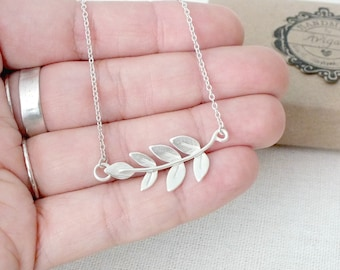 Sterling Silver Olive Branch Necklace, Silver Leaf Necklace, Silver Branch Necklace, Grecian Silver Necklace