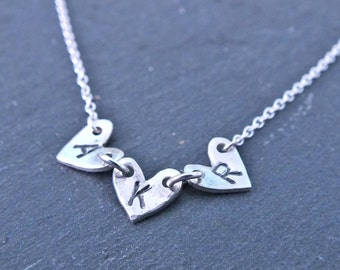 Personalised Sterling Silver Heart Bunting Necklace, Initial Necklace, Hand Stamped Necklace, Silver Heart Necklace, Custom Heart Necklace