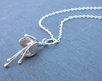 Sterling Silver Flower Necklace, Bell Flower Pendant, Gift for Her, Bridesmaid Necklace, 925 Flower Pendant