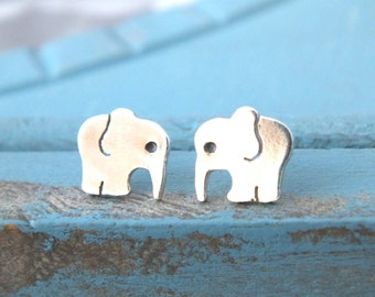 Elephant Stud Earrings, Sterling Silver Elephant Earrings, Hand Cut Elephant Stud Earrings, Animal Studs