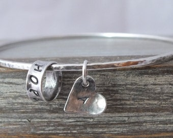 Sterling Silver Personalised Bangle, Hammered Bangle with Heart, Sterling Silver Bangle with Message, Oxidised Silver Bangle