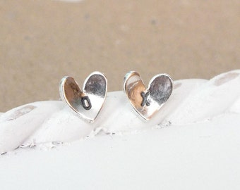 Sterling Silver Custom Heart Studs, Silver Studs, Heart Post Earrings, Hand Cut Heart Studs, Simple Studs, Bridesmaid Earrings