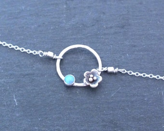 Sterling Silver Circle Bracelet, Dainty Silver Flower Bracelet, Delicate Minimal Opal Bracelet, Bridesmaids Jewelry
