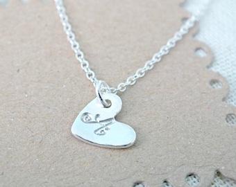 Initial Heart Necklace, Personalized Heart Necklace, Sterling Silver Heart Necklace, Hand Stamped Initial, Dainty Silver Heart Jewelry